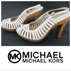 Michael Kors White Leather and Wood Strappy Pumps